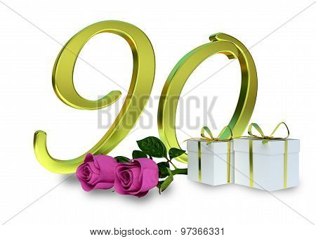 birthday concept with pink roses - 90 th