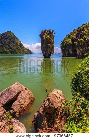 Wonderful holiday in Thailand. Bay in the Andaman Sea. James Bond Island in the shape of a vase