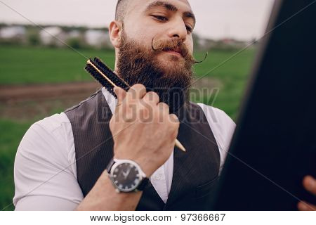 man care his beard
