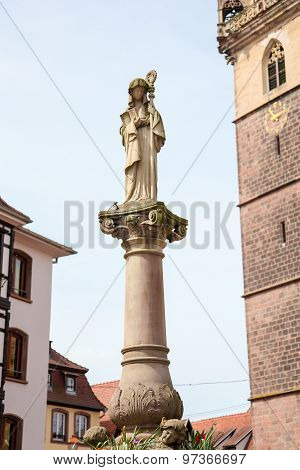 Statue Of Saint Odile In Obernai