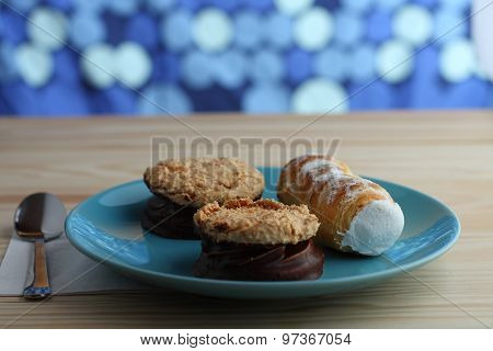 Sweet Tube Filled Egg White And Coconut Cookies Filled Jam Covered With Chocolate