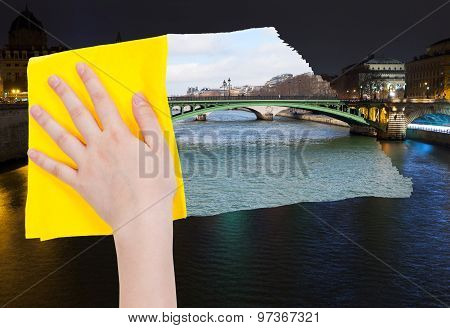 Hand Deletes Night View Of Paris By Yellow Cloth