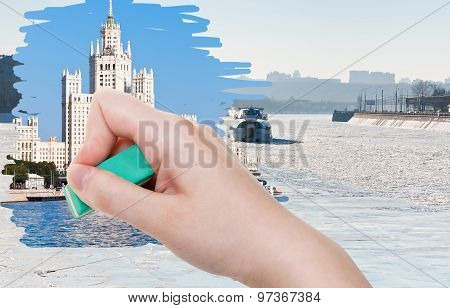 Hand Deletes Frozen Moskva River By Rubber Eraser