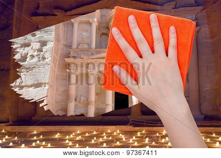 Hand Deletes Night View Of Petra By Orange Rag