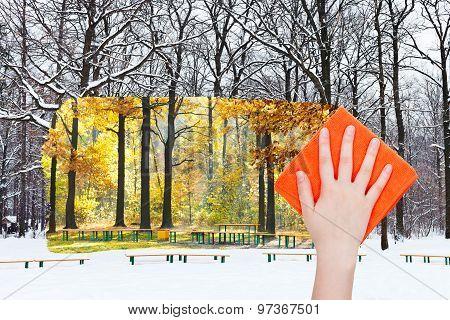 Hand Deletes Winter Urban Park By Orange Cloth