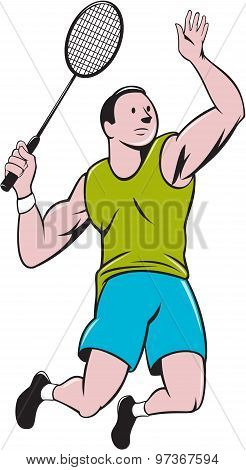 Badminton Player Racquet Striking Cartoon