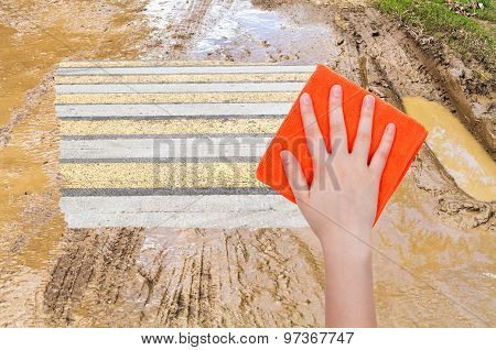 Hand Deletes Mug On Country Road By Orange Cloth