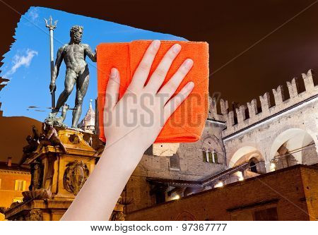Hand Deletes Bologna Night Scene By Orange Cloth