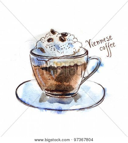 Watercolor Viennese Coffee