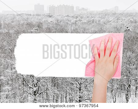 Hand Deletes Winter Forest By Pink Rag