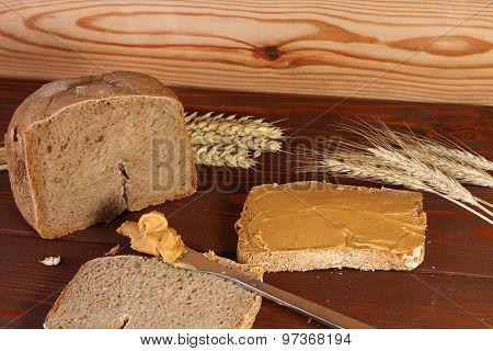 Loaf Of  Wheat,rye Bread, Sliced Bread With Peanut Cream