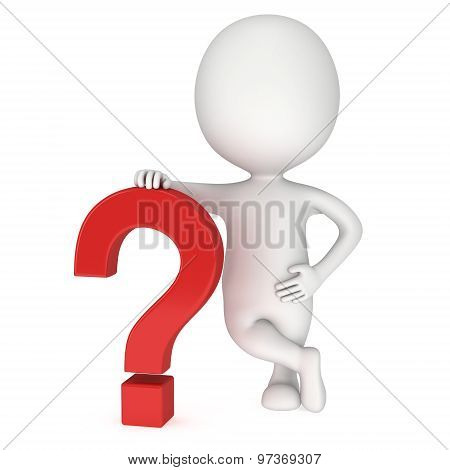 3D Man Rests On Red Question Mark