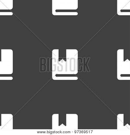 Bookmark Icon Sign. Seamless Pattern On A Gray Background. Vector