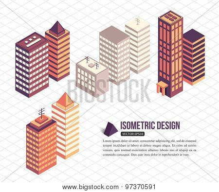 Set of isometric tall buildings for city building.