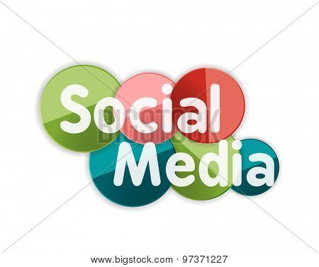 Social media concept banner, glossy circles with words, letters