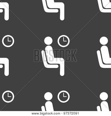 Waiting Icon Sign. Seamless Pattern On A Gray Background. Vector