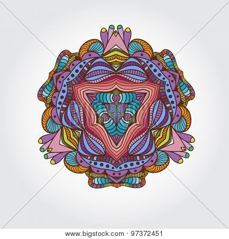 Mandala hand drawn multicolored element. Vintage circle floral elements. Islamic, Arabic, Indian, Asian culture element. Can be used for logo.