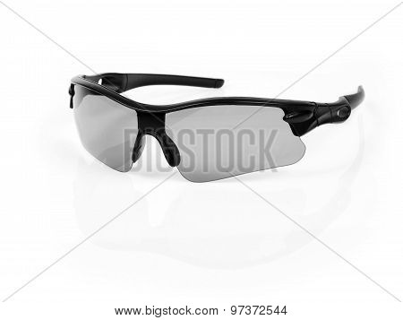 Black sun protection glasses.
