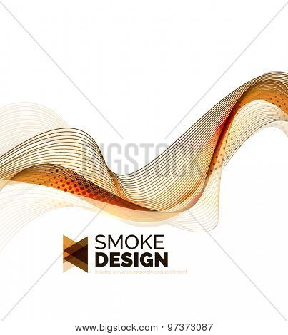 Color smoke wave isolated on white. Abstract background or design element for your message presentation, business card
