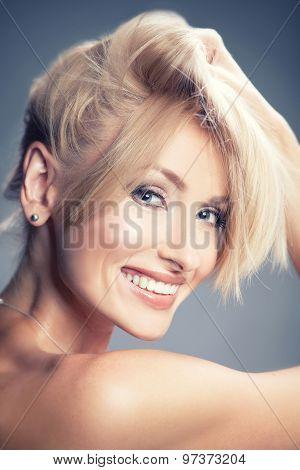 Beauty Portrait Of Sensual Smiling Woman.