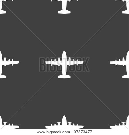 Aircraft Icon Sign. Seamless Pattern On A Gray Background. Vector