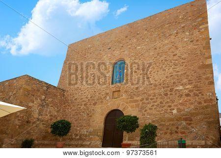 Mojacar Almeria Mediterranean church facade in Spain