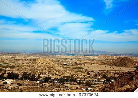 Aerial view from Mojacar Almeria village in Mediterranean Spain