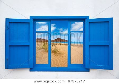 Almeria view from window of Cabo de Gata beach photo mount