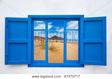 Almeria view from window of Cabo de Gata beach photo mount