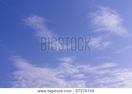 Blue Sky With Tiny Clouds, Texture And Background