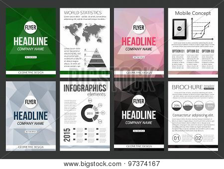 Set of corporate business stationery brochure template with infographics elements. Abstract geometri