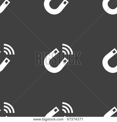 Magnet Icon Sign. Seamless Pattern On A Gray Background. Vector