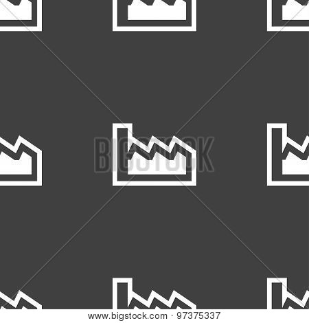 Chart Icon Sign. Seamless Pattern On A Gray Background. Vector