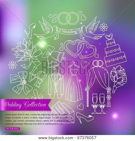 Wedding outline icons set over blurred shining background with place for text.