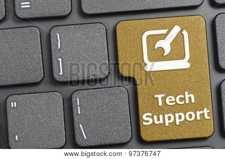 Brown tech support key on keyboard