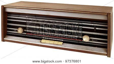 Old Wooden Radio Tuner Cutout