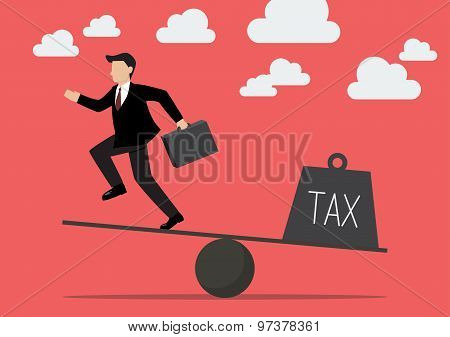 Balancing. Businessman And Tax