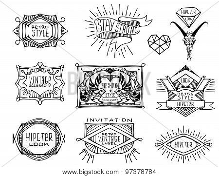 Abstract  retro vintage labels, insignias.
