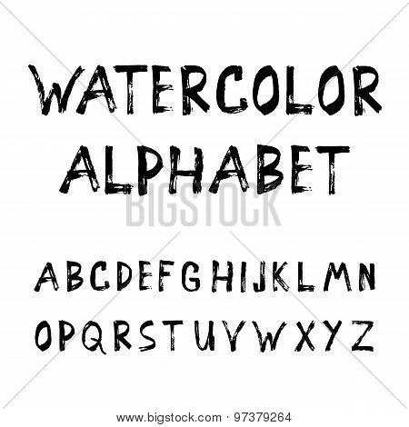 Grunge Handmade Calligraphy Watercolor Font Texture Ink Alphabet