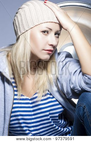 Style, Fashion And Glamour Concepts. Nice Portrait Of Smiling Caucasian Blond Woman In Warm Hat And