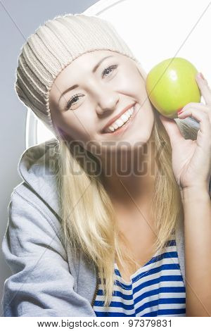 Healthy Lifestyle Concept. Closeup Portrait Of Smiling Caucasian Woman With Green Apple.