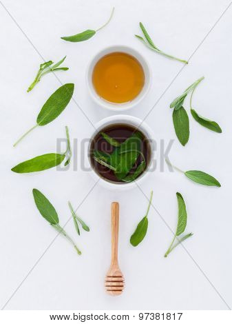 The Cup Of  Sage Healthy Drinking Tea For Warm When Illness And Cold.