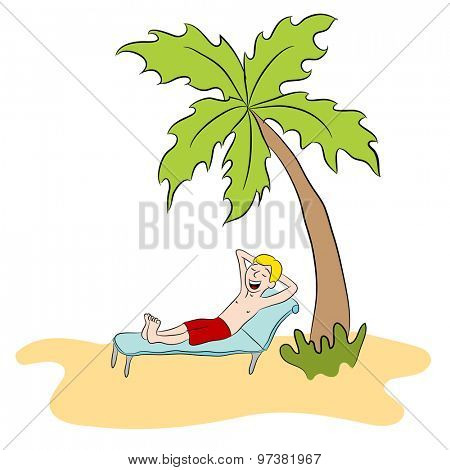 An image of a man relaxing on a private island.