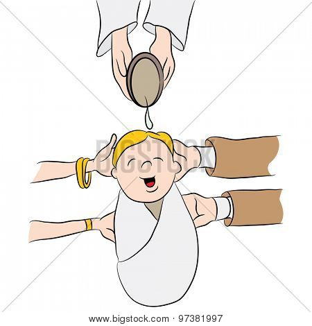 An image of a cartoon child having water poured on his head while being baptized.