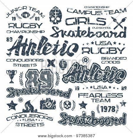 Athletic Elements With Shabby Texture