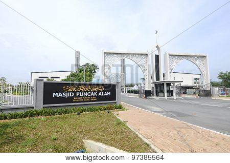 Entrance Signage of Puncak Alam Mosque at Puncak Alam, Selangor, Malaysia