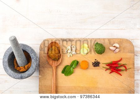 Thai Food Cooking Ingredients. - Paste Of Thai Popular Food.