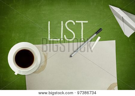 List concept on green blackboard with empty paper sheet