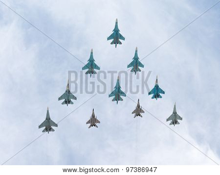 Mig-29 And Sukhoi Flying Rhombus