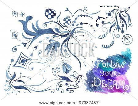 Watercolor Card with Follow Your Dream Lettering